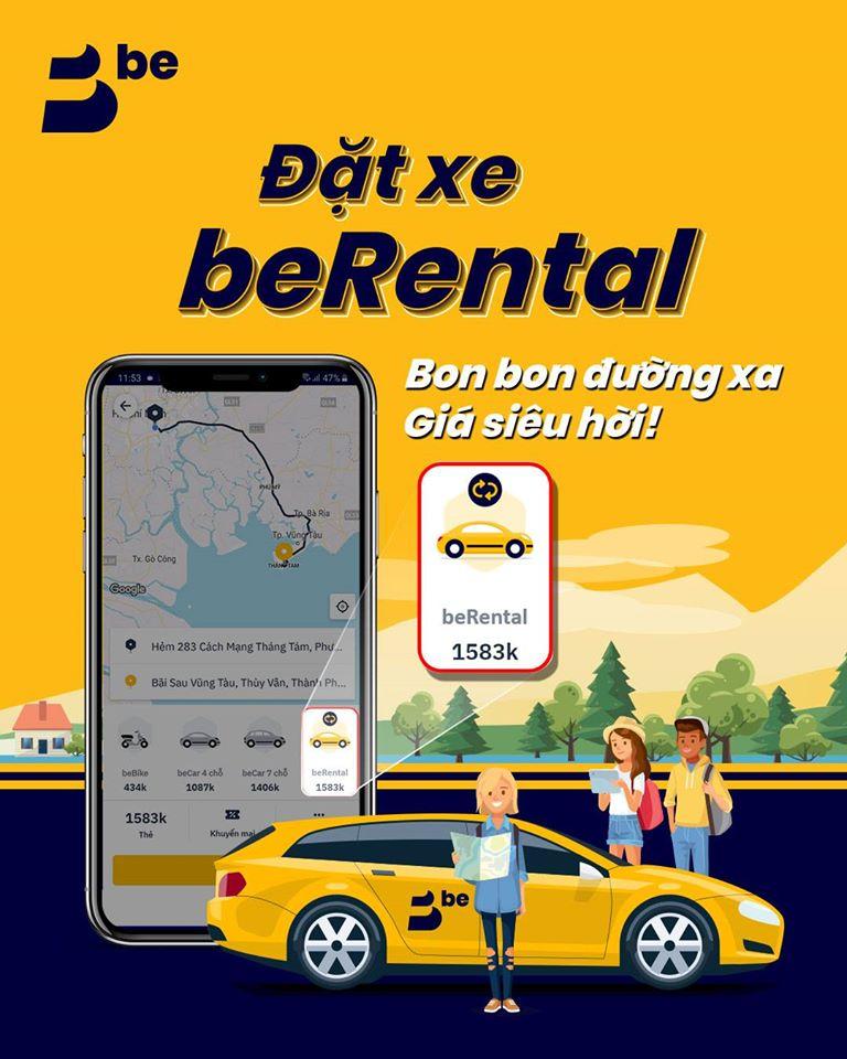 Ứng dụng đặt xe beRental - bon bon đường xa, giá SIÊU hời