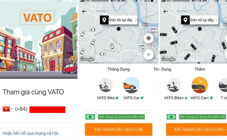 Ứng dụng Vato - của hãng xe khách Phương Trang