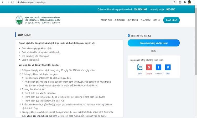 Hướng dẫn đặt lịch khám bệnh viện Da Liễu thành phố Hồ Chí Minh - Đăng nhập để đặt lịch khám