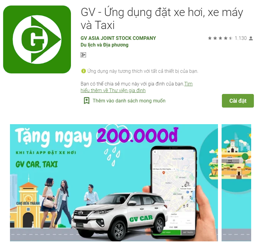Ứng dụng gọi xe mới nhất GV-Taxi trên ch play