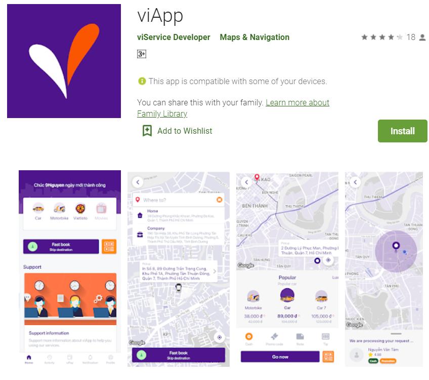Ứng dụng gọi xe mới nhất ViApp