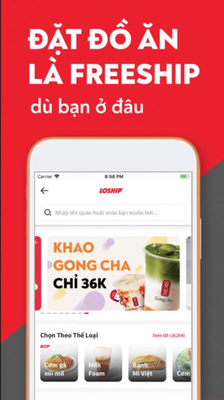 Giao điện đặt đồ ăn của app giao đồ ăn miễn phí Loship