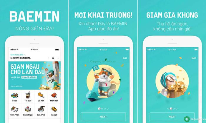 Giao diện app giao đồ ăn miễn phí Baemin