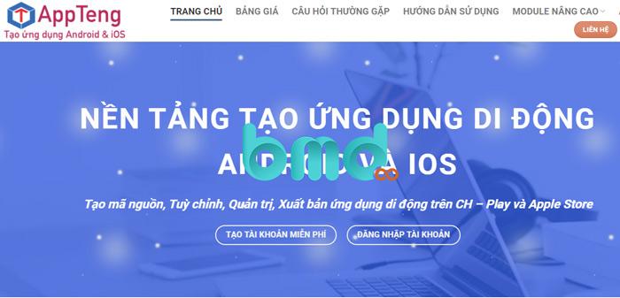 Tạo ứng dụng bán hàng online qua appteng.vn