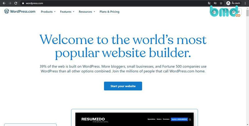 Wordpress - Trang web tạo website miễn phí
