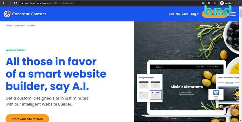 Constant Contact tạo website miễn phí