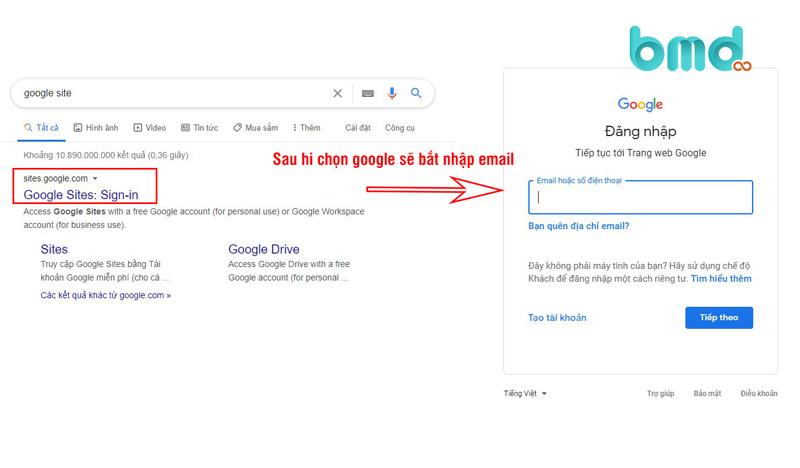 Đăng nhập gmail để tạo web bằng google site