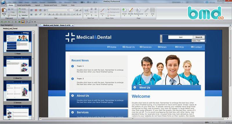 Phần mềm thiết kế web WebEasy Professsional