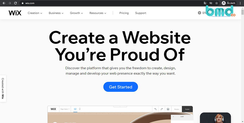 Wix - Trang web tạo website miễn phí