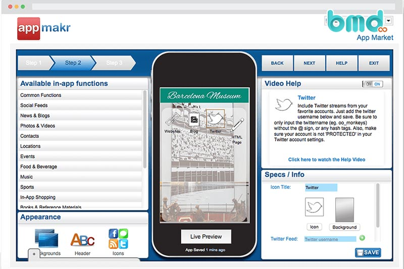 Phần mềm tạo app Appmakr