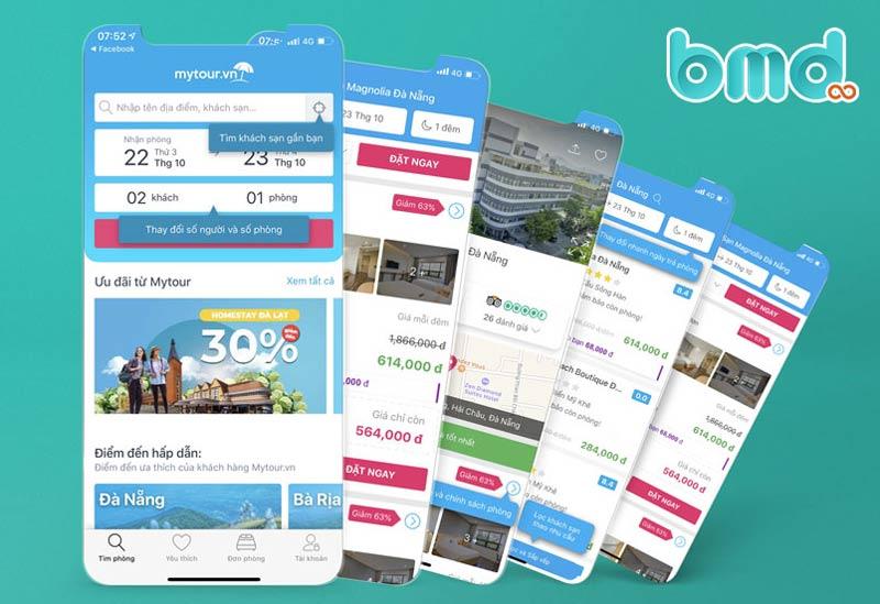 App đặt tour du lịch Mytour