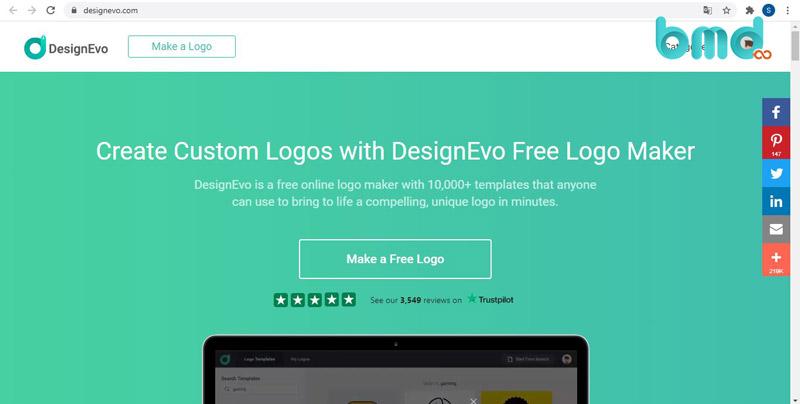 Website thiết kế logo miễn phí DesignEvo