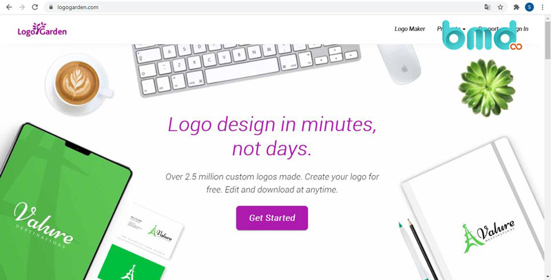 Website thiết kế logo miễn phí - Logo Garden