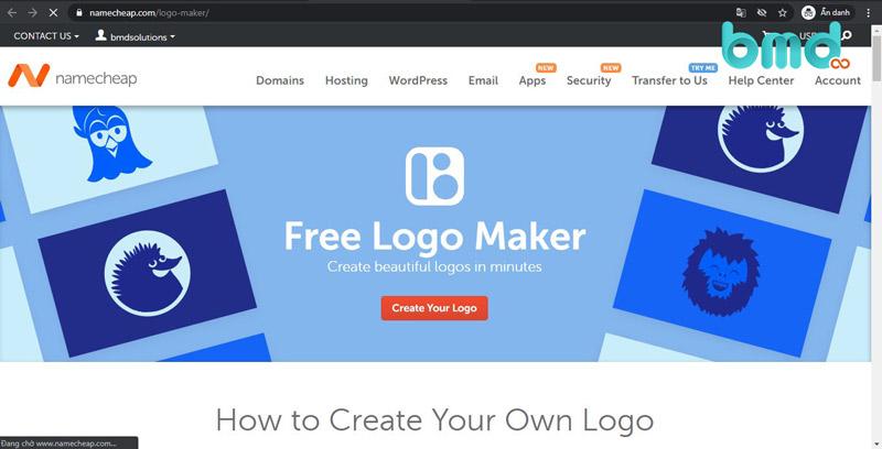 Website thiết kế logo miễn phí Namecheap