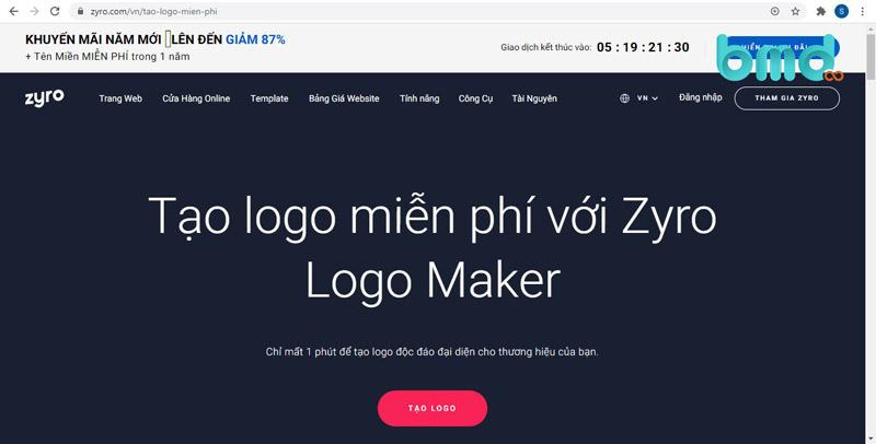 Web thiết kế logo - Zyro