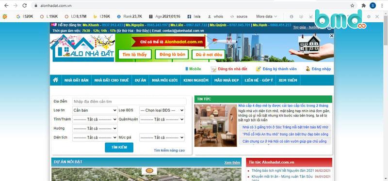 mẫu website bất động sản alonhadat.com.vn