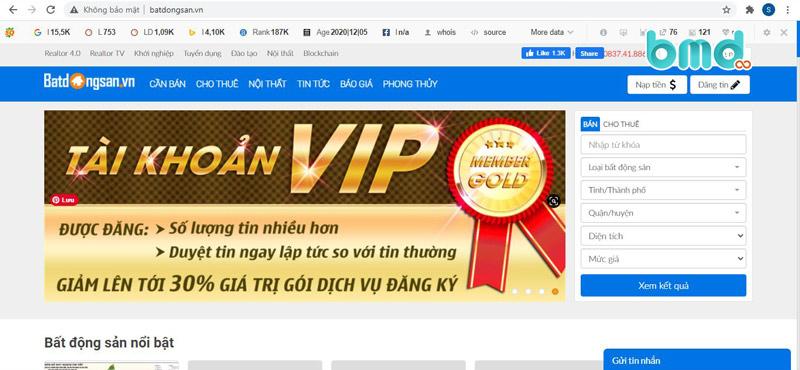 Mẫu website bất động sản batdongsan.vn