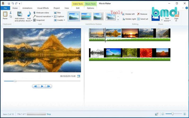 Công cụ Windows Movie maker