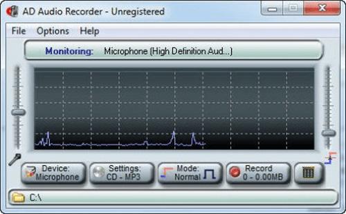 Phần mềm ghi âm PC AD Audio Recorder