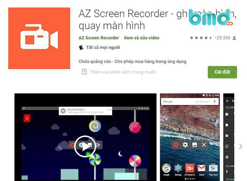 Ứng dụng ghi video màn hình AZ Screen Recorder