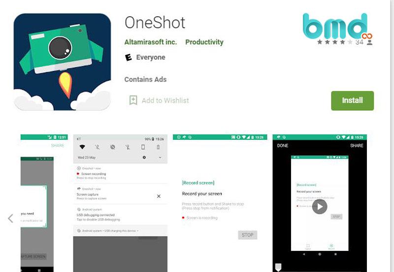 Ứng dụng ghi video màn hình OneShot