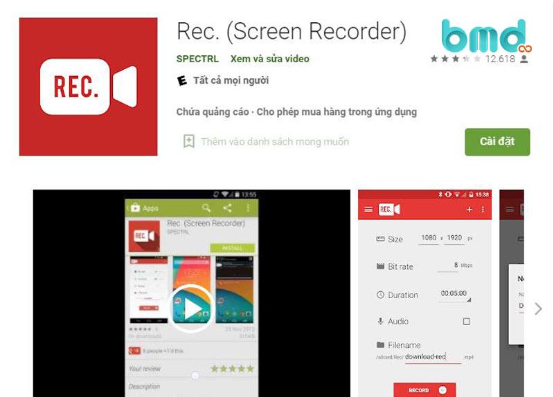 Phần mềm quay màn hình điện thoại Rec Screen Recorder