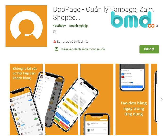 App quản lý bán hàng DooPage