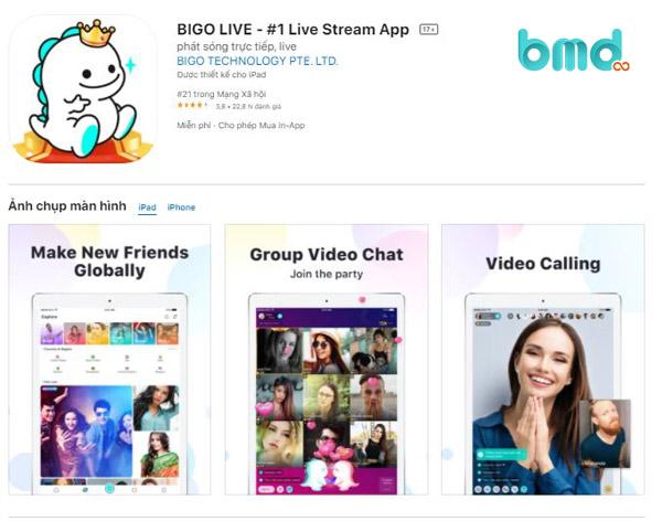 Ứng dụng live stream bán hàng Bigo live
