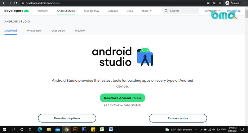 Android Studio - Phần mềm giả lập android nhẹ