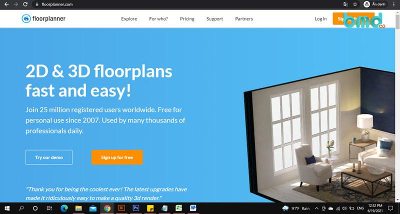 Phần mềm tự thiết kế nhà 3D Floorplanner