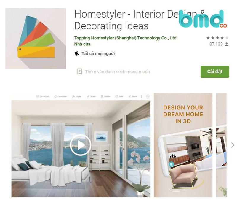 Phần mềm thiết kế nhà trên điện thoại Homestyler