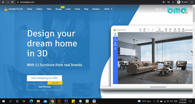 Phần mềm tự thiết kế nhà Auto Desk Homestyler