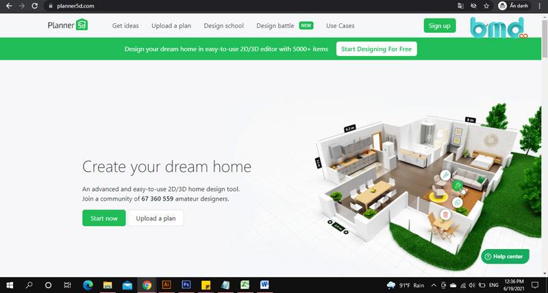 Phần mềm thiết kế nhà trên điện thoại Planner 5D