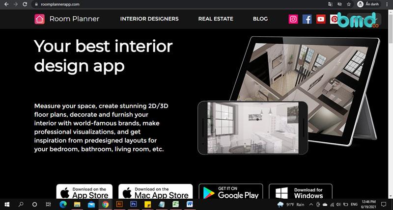 Phần mềm thiết kế nhà trên điện thoại Room Planner