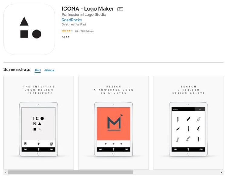 Ứng dụng thiết lế logo Icona - logo maker