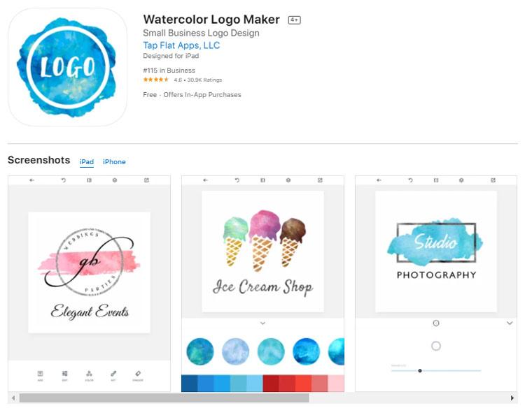 Ứng dụng thiết kế logo Watercolor Logo Maker