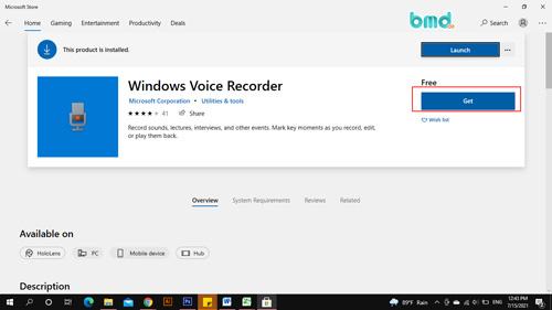 Tải phần mềm ghi âm Windows Voice Recorder