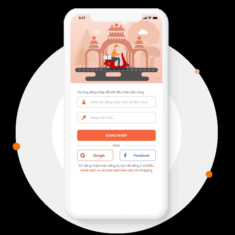 Màn hình đăng nhập ứng dụng giao hàng