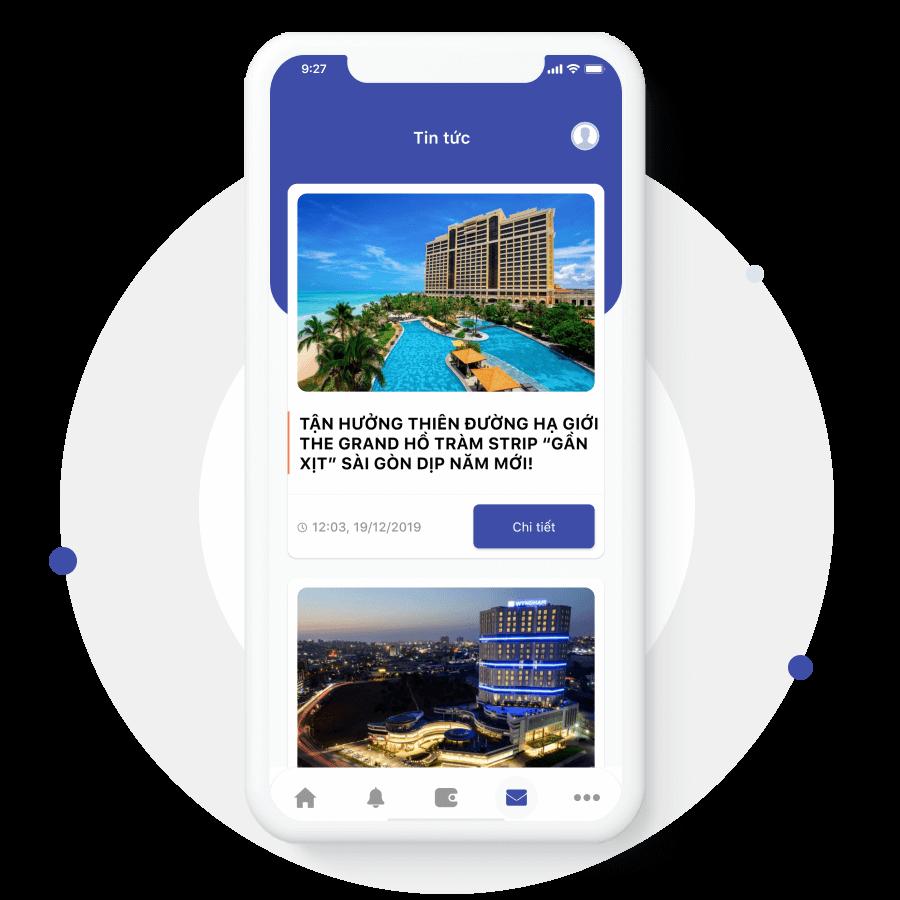 Mục tin tức của ứng dụng đặt lịch hotel