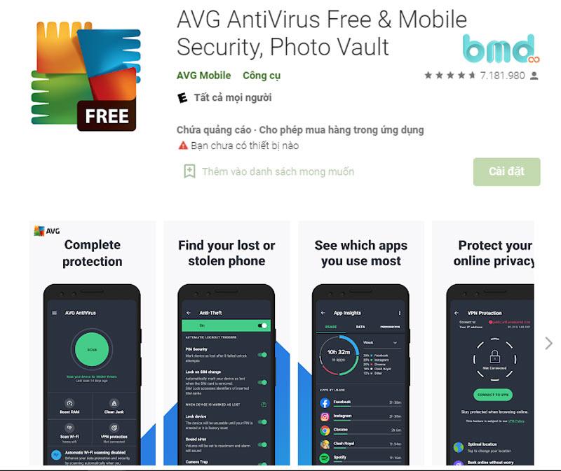 Phần mềm diệt virus miễn phí AVG Antivirus Security