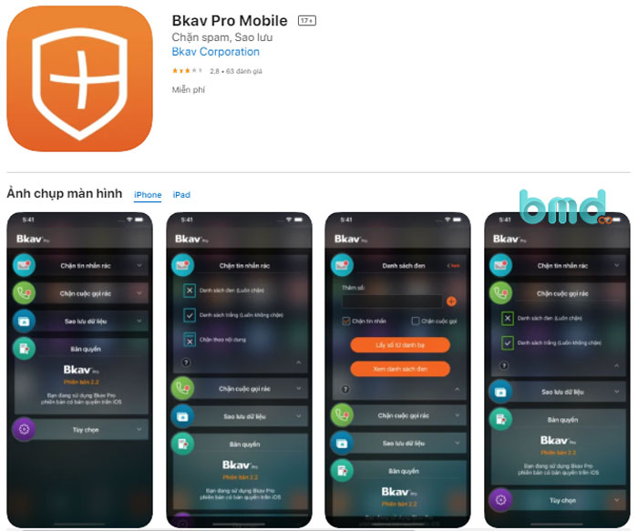 5. Phần mềm diệt virus miễn phí Bkav Pro Mobile