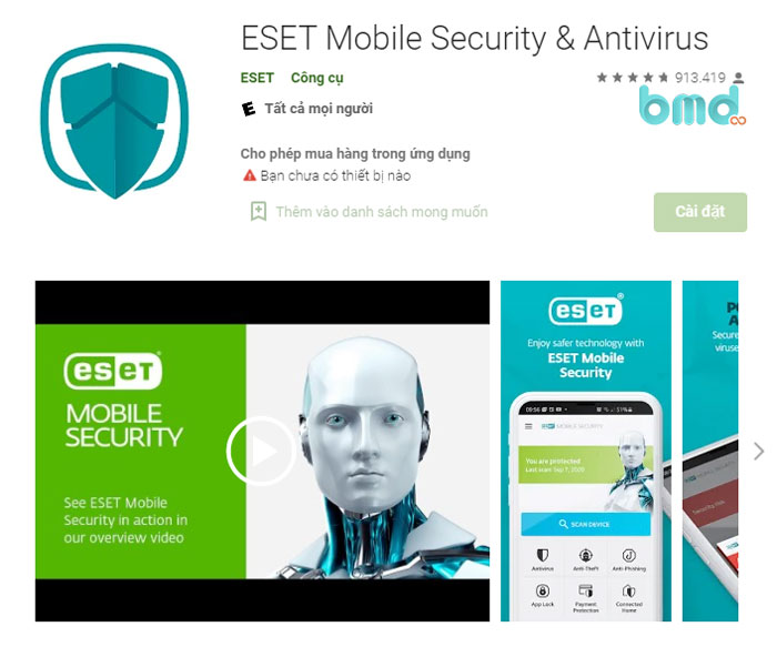 Phần mềm diệt virus cho Android ESET Mobile Security & Antivirus
