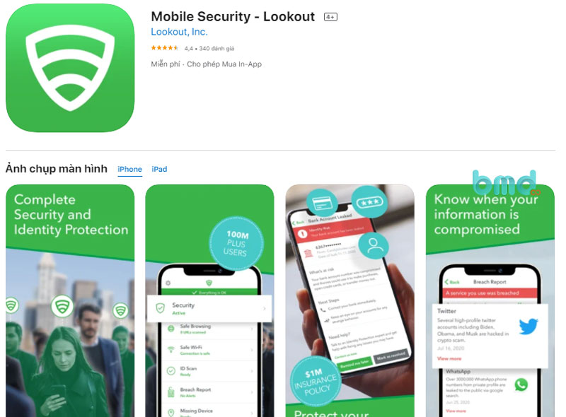 Phần mềm diệt virus miễn phí Lookout Mobile Security