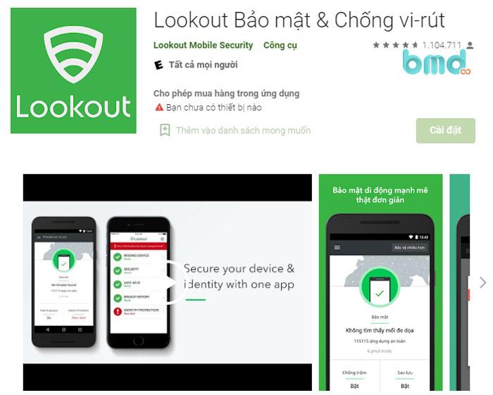 Phần mềm tiêu diệt virus Lookout Security & Antivirus