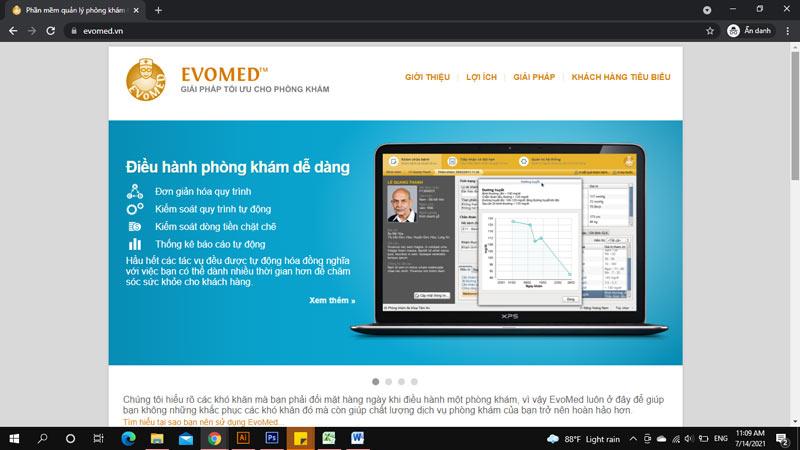 Trang chủ phần mềm quản lý phòng khám Evomed