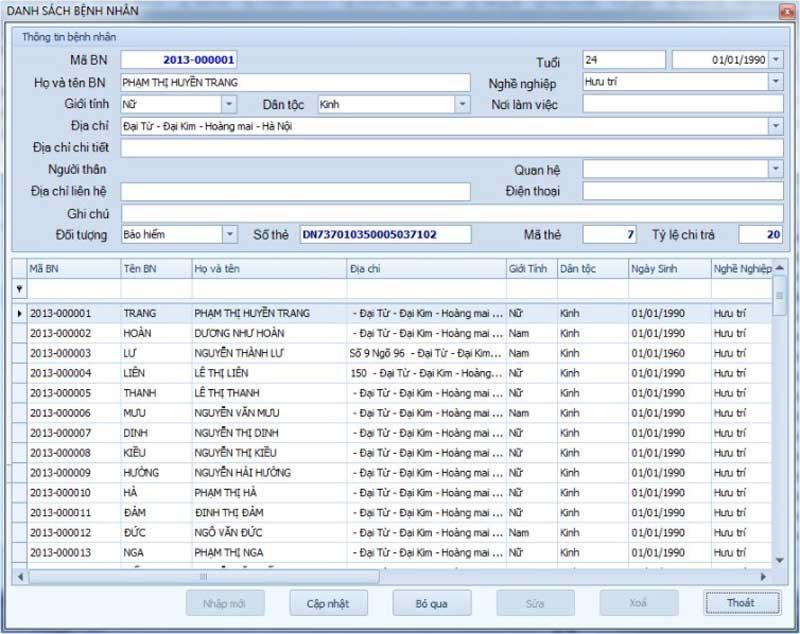 Phần mềm quản lý phòng khám TCSOFT