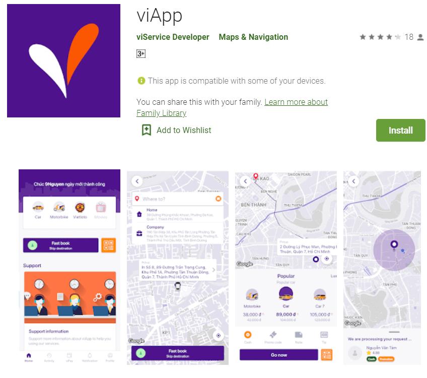 ứng dụng gọi xe ViApp trên Google Play
