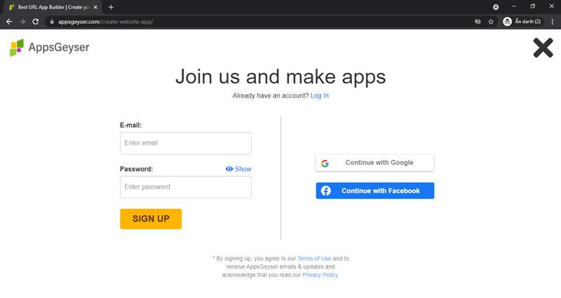 Đăng ký tài khoản appsgeyser