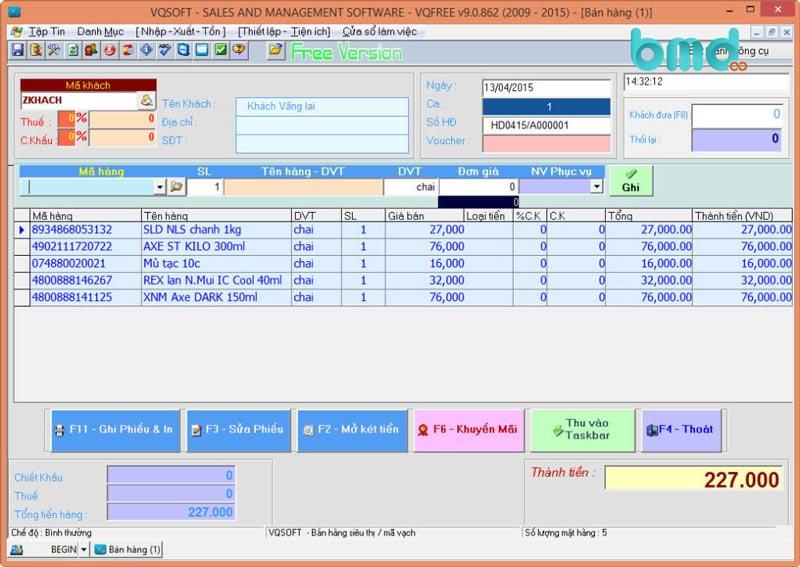 Phần mềm quản lý đơn hàng miễn phí VQFree