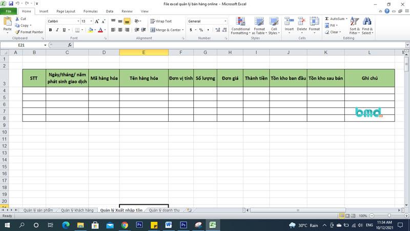 Sheet quản lý xuất nhập file quản lý đơn hàng